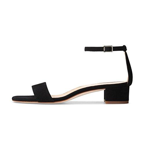 Xyd Donna Sandalo Basso A Tacco Largo Sandali Con Cinturino Alla Caviglia E Sandali Aperti Per Lestate Nera