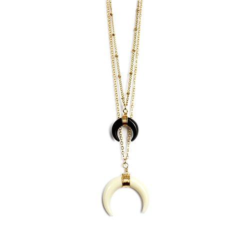 Handmade Horn (WORTHTRYIT Handmade Double Horn Crescent Pendant Necklace Set - Black & Ivory)