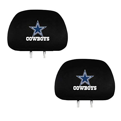 Set of 2 for Dallas Cowboys Headrest Covers, Luxury Black Fabric HeadRest Cover with Printed Dallas Cowboys Logo,Universal Fits to All Car Models, NFL Dallas Cowboys Accessories