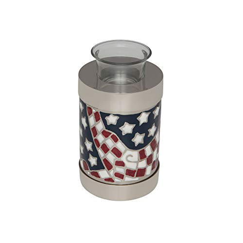 One Light Urn - Ansons Urns Tealight Small Cremation Urn - Funeral Urn for Human Ashes with Candle Holder - Small Size Burial Urn - 100% Brass - Silver American Flag Patriotic Hero - 20 Cubic inches - 5