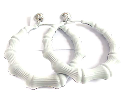 Clip-on Earrings White Bamboo Hoop Earrings 3.5 inch White -