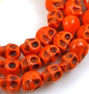 10mm Tiny Orange Turquoise Skull Beads Halloween (20) Spacer Beads and Roll Crystal String for Bracelets Jewelry -