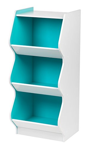 IRIS 3 Tier Curved Edge Storage Shelf, White and Blue (Kids Shelving Room)