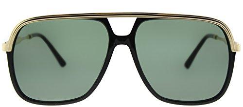 cf136f9b50 Gucci GG0200S 001 Black   Gold GG0200S Square Aviator Sunglasses Lens  Category
