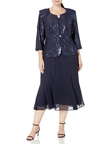 Alex Evenings Women's Plus-Size Tea Length Mock Jacket Dress, Navy, 20W
