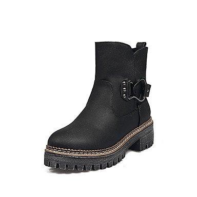 DESY Unisex Zapatos Semicuero Otoño Invierno Botas de Moda Botas Tacón Robusto Dedo redondo Botines/Hasta el Tobillo Hebilla Combinación Para