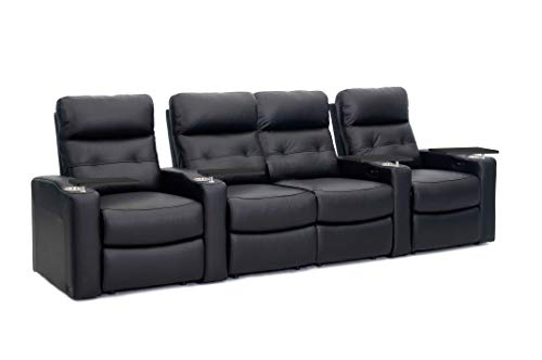 Octane Contour Leather Power Headrest & Power Recline Home Theater Recliners, Black (Set of 4)