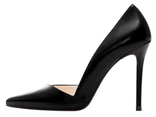 DYF Zapatos de color sólido de gran tamaño fino afilado tacón boca superficial, 10cm,Negro,43