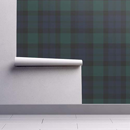 Peel-and-Stick Removable Wallpaper - Tartan Plaid Tartan Tartan Plaid Blackwatch Black Watch Preppy by Peacoquettedesigns - 12in x 24in Woven Textured Peel-and-Stick Removable Wallpaper Test Swatch (Wallpaper Preppy)