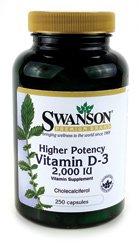 Более высокая потенция Витамин D-3 2000 МЕ 250 колпачки Свенсон премии