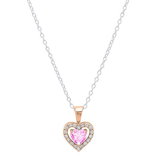 Dazzlingrock Collection 10K 5 MM Heart Created Pink Sapphire & Round Diamond Ladies Heart Pendant, Rose Gold