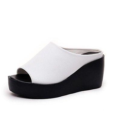 RUGAI-UE Moda de Verano Mujer sandalias casuales zapatos de tacones PU Confort,Champagne,US5.5 / UE36 / UK3.5 / CN35 White