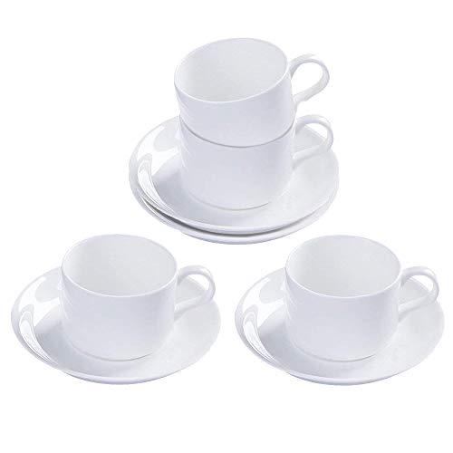 Liner Demitasse (5oz 4pcs set Pure White Porcelain Cups With Saucers Ceramic Coffee/Tea/Latte/Cappuccino Cups Table tools)