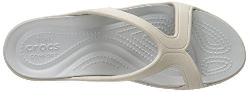 silver Femme W Wedge Sanrah Sandales Crocs platinum Gris W0f4q