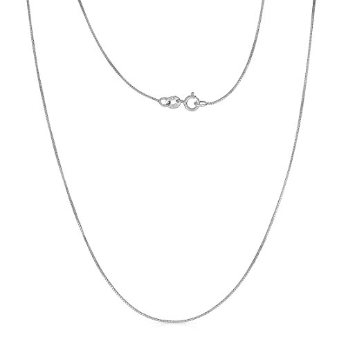 Price comparison product image 22 Inch 10k White gold Box Chain Necklace (0.6 mm)