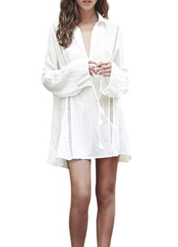 BUTTZO Women's Beachwear Bikini Swimwear Beach Club Sexy Lace Cover up Blouse Bathing Dress Suit (One Size) (White 2) Cotton Lightweight Cover Up