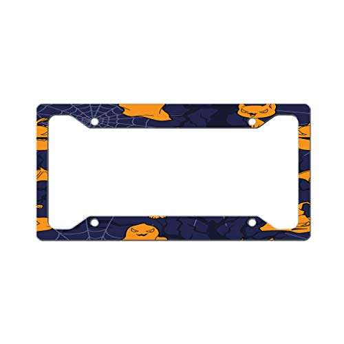 Custom License Plate Frame Scary Halloween Seamless Pattern Aluminum Cute Car Accessories Wide Top Design Only Set of 2 ()