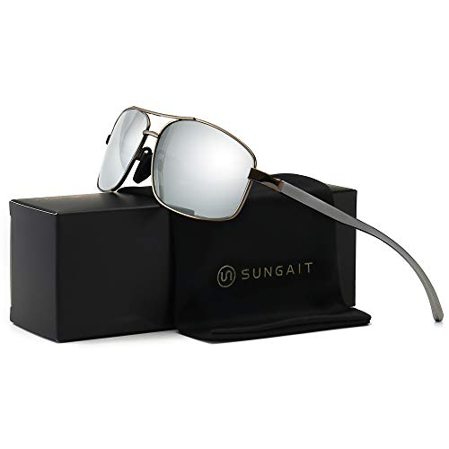 SUNGAIT Ultra Lightweight Rectangular Polarized Sunglasses 100% UV protection (Gunmetal Frame Sliver Mirror Lens, 62) Metal Frame 2458QKSY ()