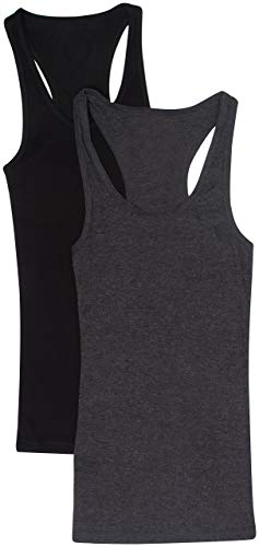 2 Pack Zenana Women's Ribbed Racerback Tank Tops Med Black, Charcoal