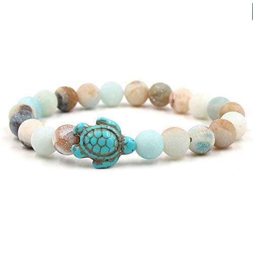- JJDSL Bracelet Colourful Summer Style Sea Turtle Beads Bracelets for Women Men Classic Natural Stone Elastic Friendship Bracelet Beach Jewelry