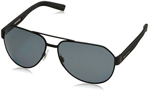 Dolce & Gabbana Mens Sunglasses (DG2149) Black Matte/Grey Metal - Polarized - - Gabbana Spectacles Dolce