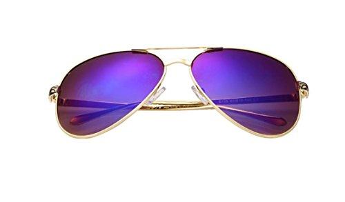 HYY@ Couple reflective sunglasses colorful frog mirror sunglasses driver mirror , dazzle purple piece
