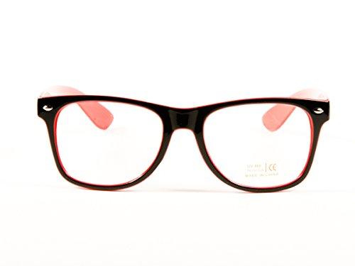 5a4ae880f25 Goson Vintage Hipster Nerd Red Black two tone Frame Clear Lens Wayfarer 57  mm Glasses