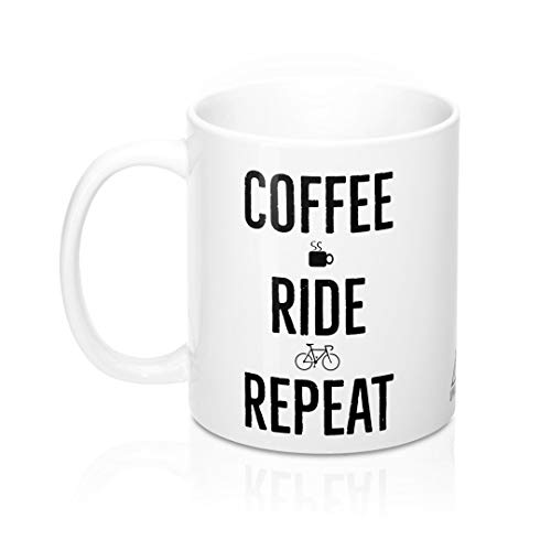 Coffee Ride Repeat Coffee Mug Cycling Cup Gift for Cyclist by Uphill Industries