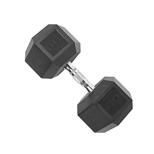 CAP Barbell Coated Hex Dumbbell with Contoured Chrome Handle, Single, 80 Pounds