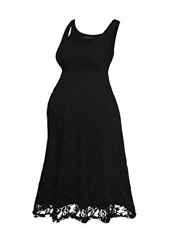HARHAY Women's Maternity Knee Length Sleeveless Lace Tank Dress 606 Black (Black Dresses For Women Maternity)