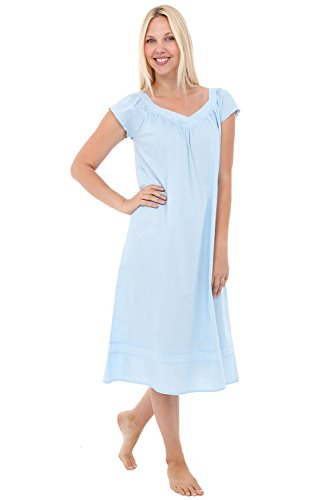 (Alexander Del Rossa Womens Adele Cotton Nightgown, Long Victorian Sleepwear, XX-Large Sea Breeze Blue (A0528LBL2X))