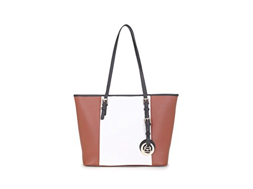 CWS00476 CWJM336 Tote Faux Celebrity Shoulder Shopper Quality Tan Ladies CWS00350 Bags Leather Sized Handbag Women's Cream Over White g1n6SxOqxU