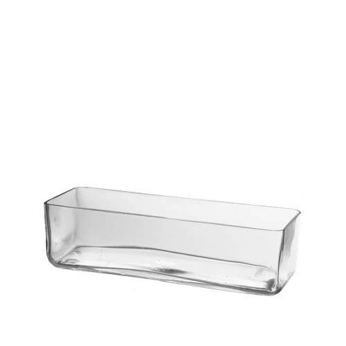 CYS EXCEL Rectangular Glass Vase, Block Vase, Flower Vase, Rectangle Vases for Centerpieces, Pack of 1. (H:4 Open:12x4)