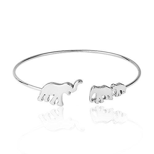 MANZHEN Mom and Baby Elephant Cuff Bangle Animal Family Charm Bracelet (Silver)
