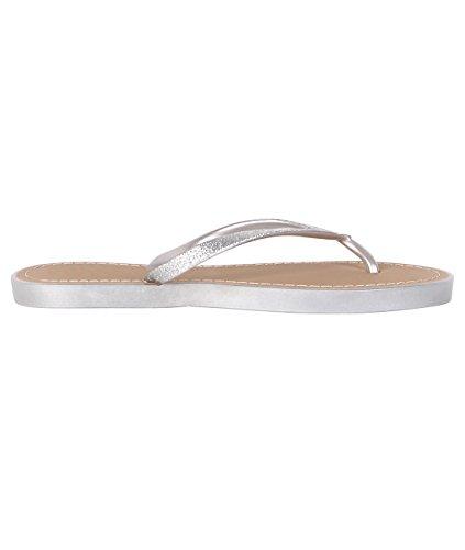 KRISP Sandalias Verano Mujer Chanclas Zapatos Flip Flop Chancletas Brillantes Plateado
