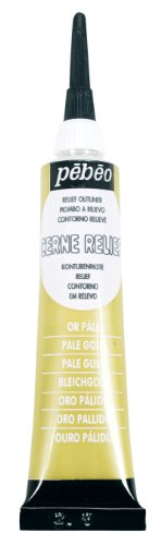 Pebeo Vitrail, Cerne Relief Dimensional Paint, 20 ml Tube with Nozzle - Pale Gold by Pebeo