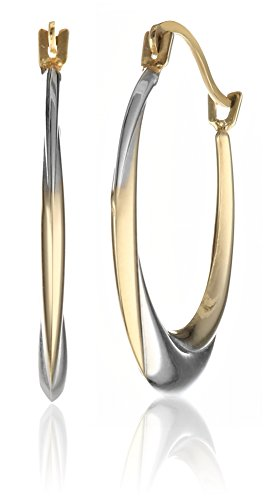 Gold Two Tone Stampato Hoop Earrings