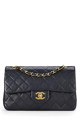 CHANEL Black Quilted Lambskin Classic Double Flap Small (Pre-Owned)