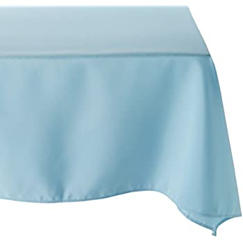 Captivating LinenTablecloth 54 Inch Square Polyester Tablecloth Baby Blue