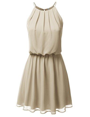 Beige Womens Dress - JJ Perfection Women's Sleeveless Double-Layered Pleated Mini Chiffon Dress Taupe M