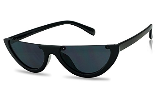 (SunglassUP Super Small Half Moon 90s Cateyes Sunglasses (Black Frame | Black))