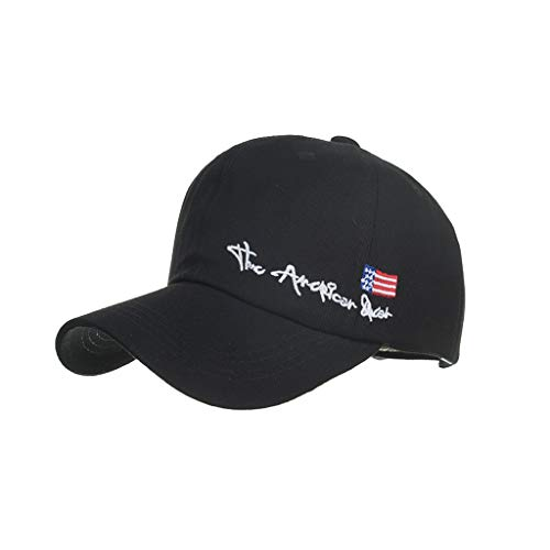 Unisex American Flag Embroidered Washed Cotton Baseball Cap Adjustable Sun Visor Hats Letter Sun Cap Black