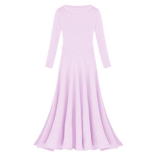 Little/Big Girls Belly Dance Chiffon Skirt ATS Voile Maxi Full Dress Bellydance Skirt Light Purple 7-8 ()