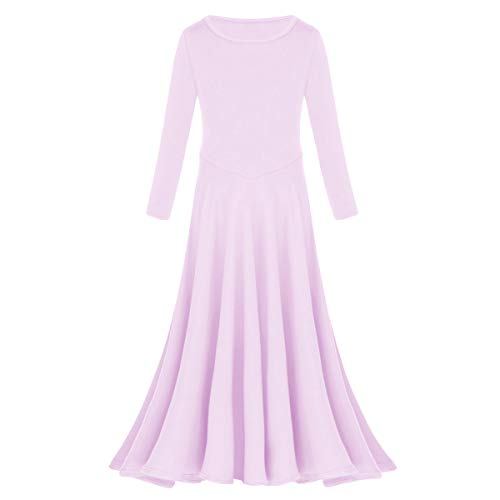 (Little/Big Girls Ballroom Dance Women's Tulle Lycra Ice Silk Pattern Print Splicing Half Sleeves Natural Dress Light Purple 3-4 Years)