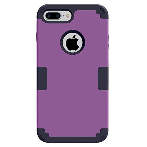 iPhone 7 Plus Case, iPhone 8 Plus Case, Easytop 3 in 1 Light Weight Exact Fit Ultra Slim Hybrid Dual Layer PC Hard Shell Shock-Absorption Soft Silicone Inner Bumper Protective Case (Purple + Black) ()