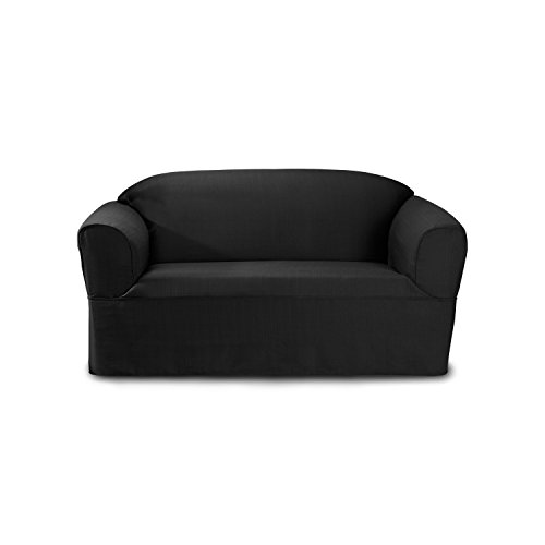 CoverWorks BAYVLOVECHAR1 Bayleigh Wrap Style Loveseat Slipcover, Charcoal by CoverWorks