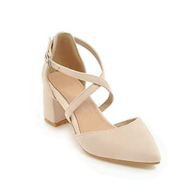 BalaMasa Womens ASL06458 Closed-Toe Pointed-Toe Bandage Apricot Imitated Suede Block Heels - 2 UK (Lable:33)