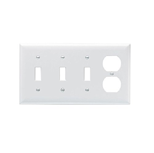 Pass & Seymour SP38-LA Thermoset (Plastic) Screw Mount Standard Size 4-Gang Combination Opening Plate (1) Duplex Receptacle (3) Toggle Switch Light Almond