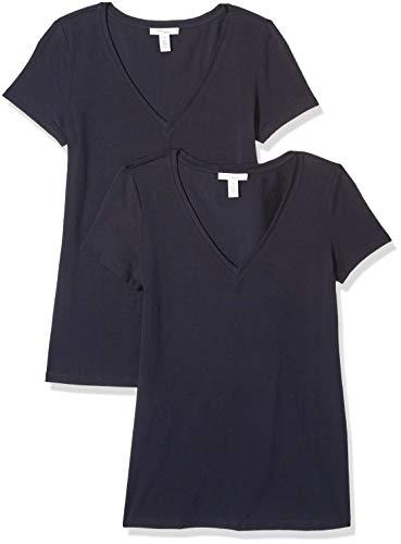 Amazon Brand - Daily Ritual Women's Stretch Supima Short-Sleeve V-Neck T-Shirt, Navy, X-Small