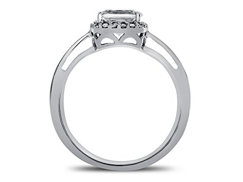 Finejewelers Solid 10k White Gold 6mm Cushion Center Stone with White Topaz accent stones Halo Ring
